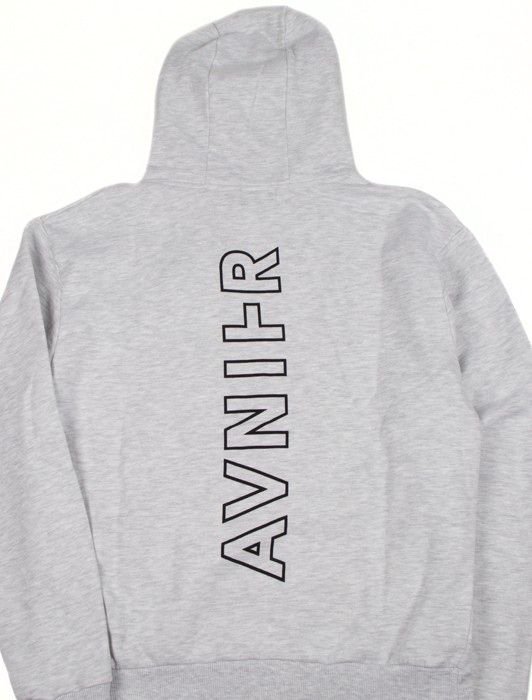 VERTICAL BACK HEATHER GREY HOODIE