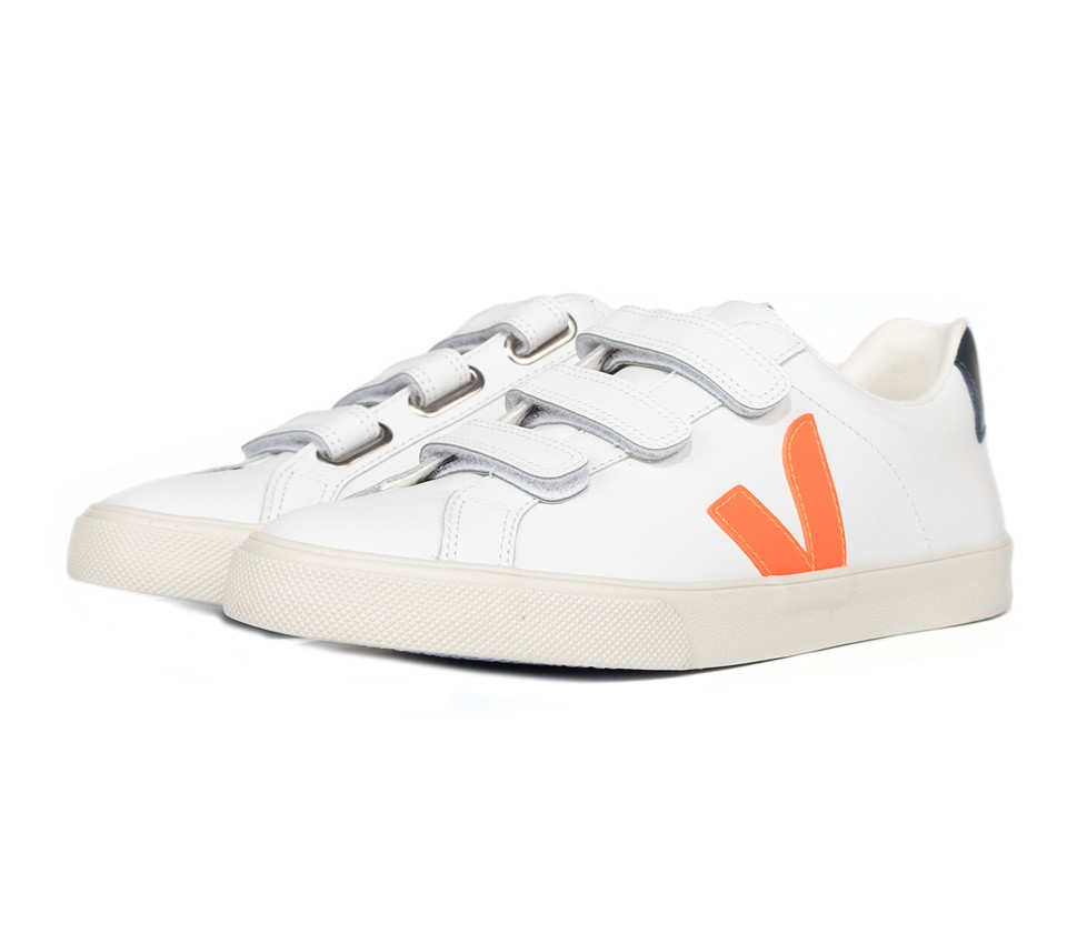 3-LOCK LOGO LEATHER EXTRA WHITE ORANGE FLUO NAUTICO