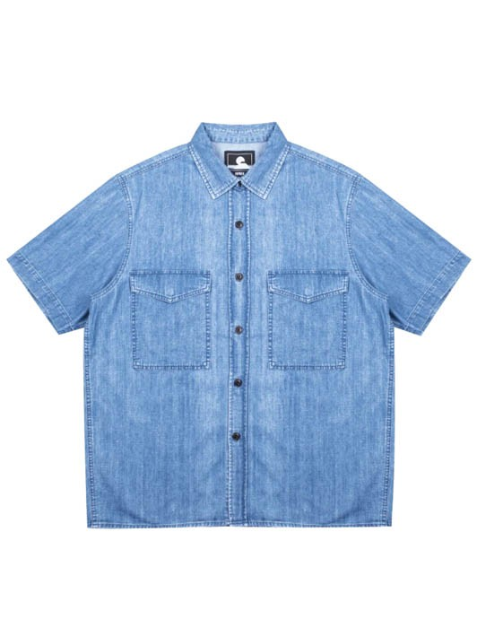 BIG SHIRT SS BLUE PEARL COTTON DENIM