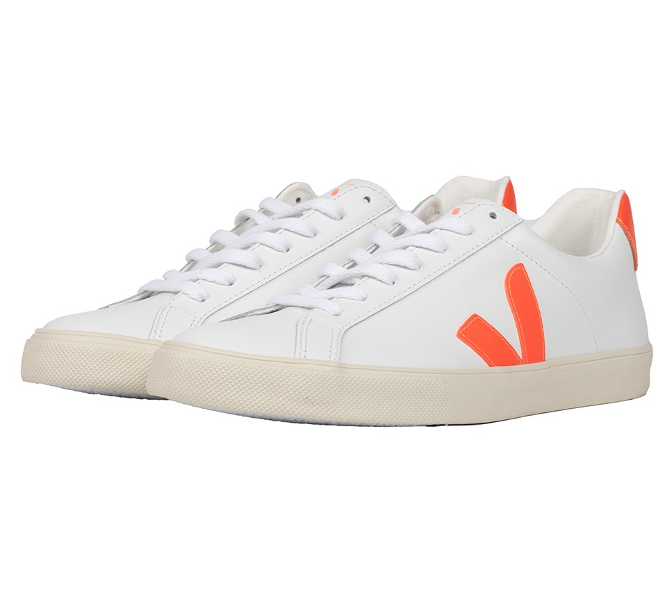ESPLAR LOGO LEATHER EXTRA WHITE ORANGE FLUO