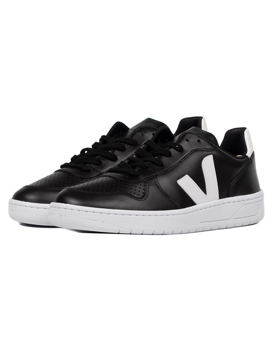 V-10 LEATHER BLACK WHITE WHITE SOLE